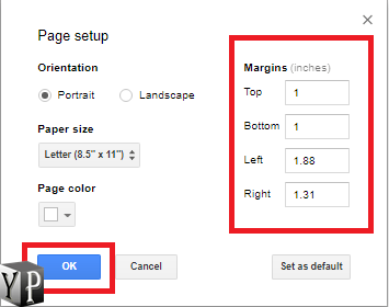 how to change page margins in google docs