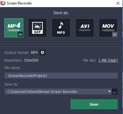 save as size movavi screen recorder