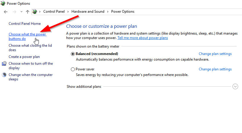 choose what the power option do in windows 10