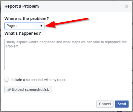 choose where is the problem facebook