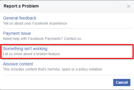 report a problem popup on facebook