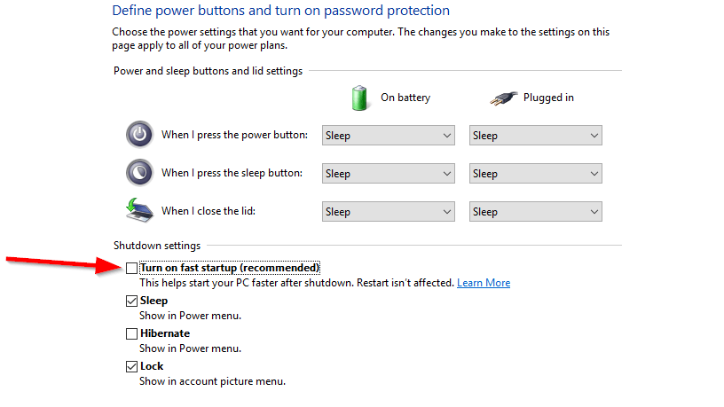 turn up fast recommended power option
